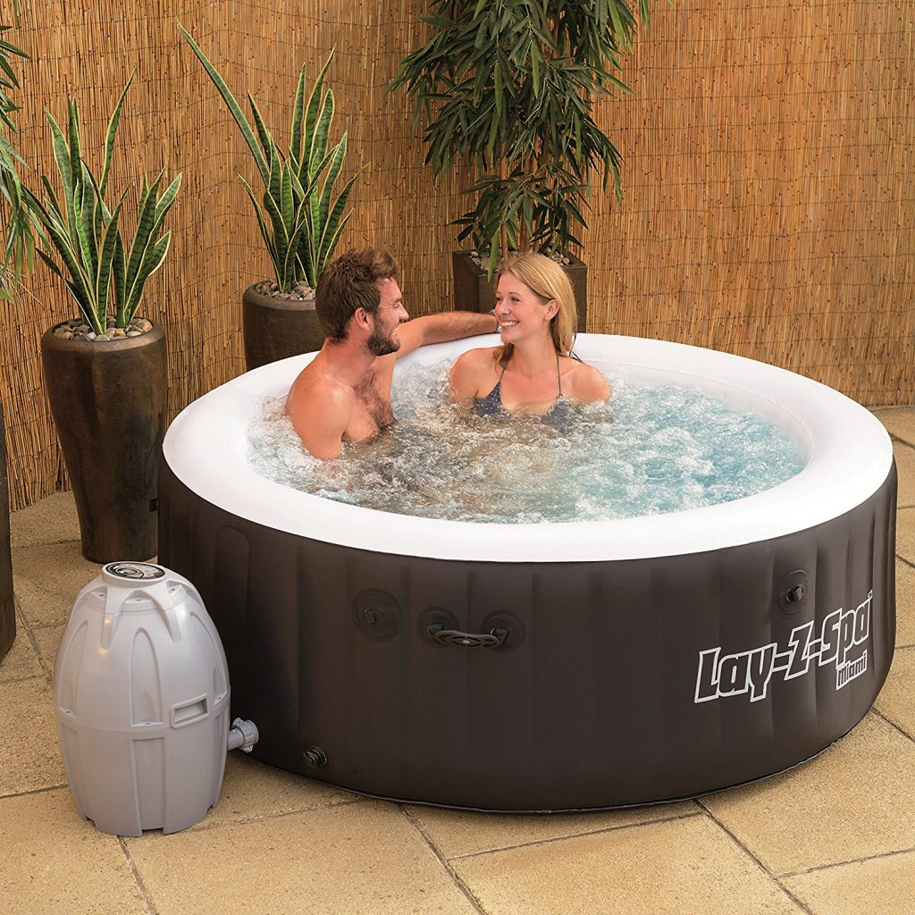 review of bestway lay z spa miami inflatable hot tub pool party app. Black Bedroom Furniture Sets. Home Design Ideas