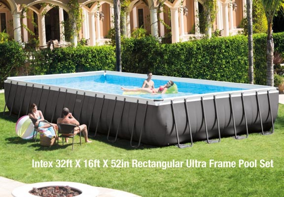 Intex 32ft X 16ft X 52in Rectangular Ultra Frame Pool Set
