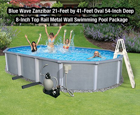 Blue Wave Zanzibar 21-Feet by 41-Feet Oval 54-Inch Deep 8-Inch Top Rail Metal Wall Swimming Pool Package
