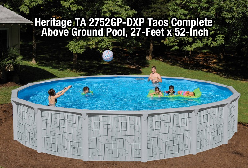 Heritage TA 2752GP-DXP Taos Complete Above Ground Pool, 27-Feet x 52-Inch