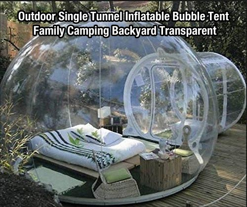 Outdoor-Single-Tunnel-Inflatable-Bubble-Tent-Family-Camping-Backyard-Transparent