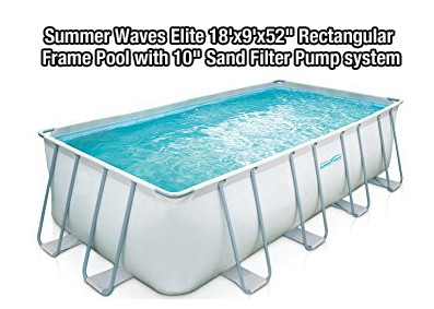 Summer Waves Elite 18'x9'x52 Rectangular Frame Pool with 10 Sand Filter Pump system