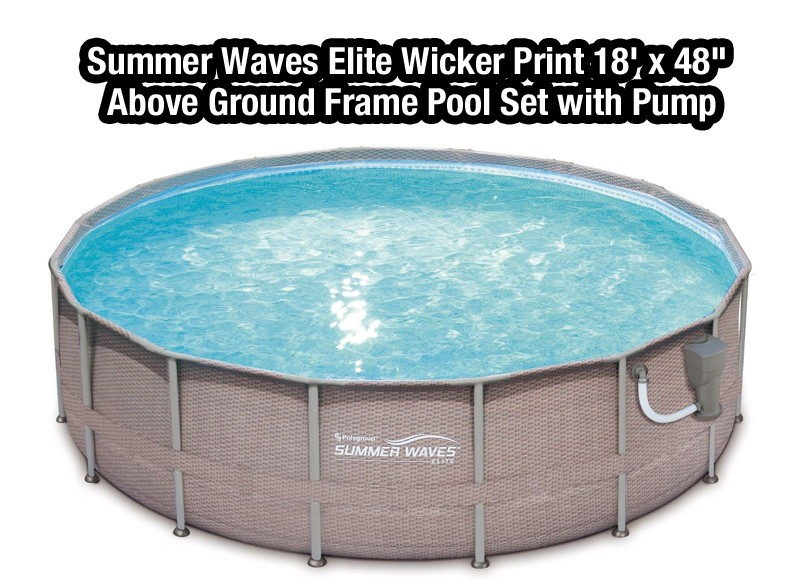 Summer Waves Elite Wicker Print 18' x 48 Above Ground Frame Pool Set with Pump
