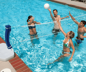 Pool Party With Basketball Hoop