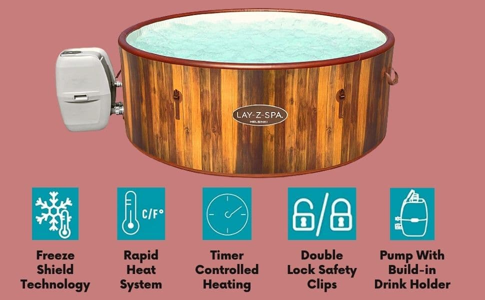 _Lay-Z-Spa Helsinki Hot Tub, 180 AirJet Wood Effect Inflatable Spa with Freeze Shield Year Round Technology and Rapid Heating, 5-7 Person