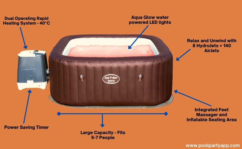 Lay-Z-Spa Maldives HydroJet Pro Hot Tub Inflatable Spa with LED Lights, 1050 Litre