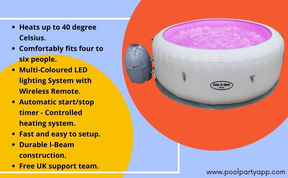 Lay -Z-Spa Paris Hot Tub with LED Lights, Airjet Inflatable